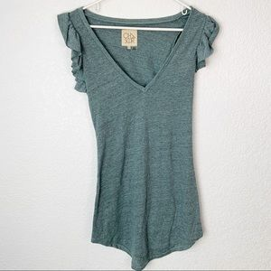 Chaser Green Ruffle Sleeveless Shirt Dress XS